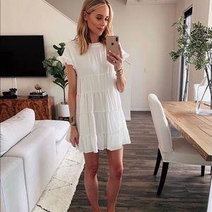 White mini baby doll dress